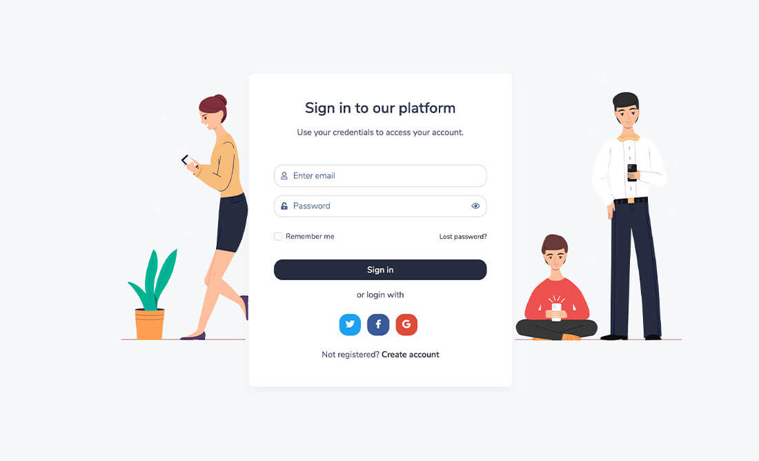 Sign In page preview
