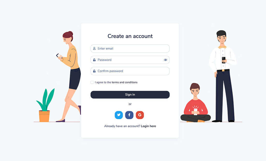 Sign Up page preview
